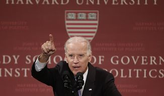 Vice President Joe Biden spoke about the Islamic State at Harvard University's Kennedy School of Government in Cambridge, Massachusetts, Thursday. (AP Photo/Winslow Townson)