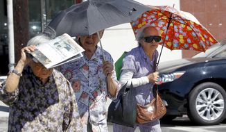 Women shade themselves from the sun in the Chinatown section of downtown Los Angeles on Thursday, Oct 2, 2014. Rising temperatures, falling humidity levels and Santa Ana winds increased fire danger in drought-stricken Southern California on Thursday, and forecasters said the fall heat wave would push temperatures well above normal from San Diego to San Francisco.  (AP Photo/ Nick Ut)