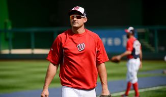 Washington Nationals' Ryan Zimmerman (11) during team practice the day before they play the San Francisco Giants at Nationals Park for Game 1 of the National League Division Series, Washington, D.C., Thursday, October 2, 2014. (Andrew Harnik/The Washington Times)