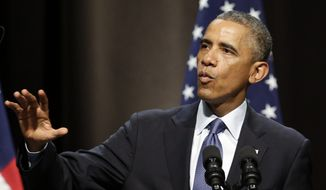 President Barack Obama speaks about the economy, Thursday, Oct. 2, 2014, at Northwestern University in Evanston, Ill. Obama is looking to frame the closing economic arguments of the midterm campaign. (AP Photo/Nam Y. Huh)