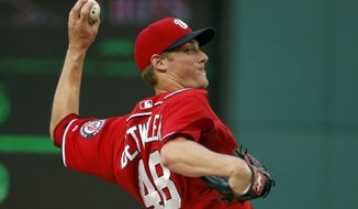 FILE - In this Sept. 6, 2014 file photo, Washington Nationals relief pitcher Ross Detwiler throws during the seventh inning of a baseball game against the Philadelphia Phillies at Nationals Park in Washington. Detwiler has been left off the Washington Nationals' roster for their NL Division Series against the San Francisco Giants while former closer Rafael Soriano made the 25-man cut.  (AP Photo/Alex Brandon, File)