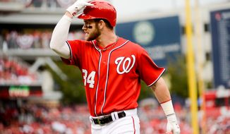 Washington Nationals left fielder Bryce Harper (34) shows his frustration as he pops out in the second inning as the Washington Nationals play the San Francisco Giants at Nationals Park for Game 1 of the National League Division Series, Washington, D.C., Friday, October 3, 2014. (Andrew Harnik/The Washington Times)