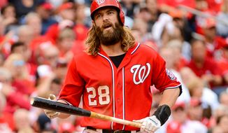 Washington Nationals right fielder Jayson Werth (28) reacts as he strikes out to start the bottom of the forth inning as the Washington Nationals play the San Francisco Giants at Nationals Park for Game 1 of the National League Division Series, Washington, D.C., Friday, October 3, 2014. (Andrew Harnik/The Washington Times)