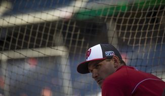 Nationals Ryan Zimmerman waits for his turn during batting practice, prior to Game 2 of the National League Division Series as the Washington Nationals host the San Francisco Giants at Nationals Park in Washington, DC., Saturday, October 4, 2014. (Photo by Rod Lamkey Jr.)