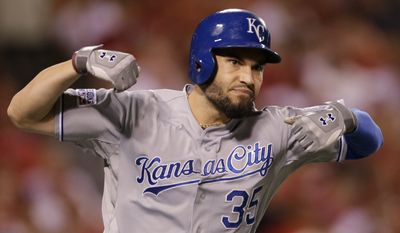 Kansas City Royals' Eric Hosmer celebrates his two-run home run against the Los Angeles Angels in the 11th inning of Game 2 of baseball's AL Division Series in Anaheim, Calif., Friday, Oct. 3, 2014.  (AP Photo/Gregory Bull)