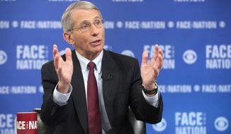 """In this photo provided by CBS News, the National Institute of Health's Dr. Anthony Fauci, the nation's top infectious disease expert, speaks on CBS's """"Face the Nation"""" in Washington. Speaking on the Ebola virus, Fauci said it's perfectly normal to feel anxious about a disease that kills so fast and is ravaging parts of West Africa, but predicts there won't be an outbreak in the U.S.  (AP Photo/CBS News, Chris Usher)"""