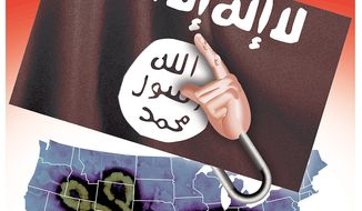 Illustration on mistrusting government information on ISIS and Ebola by Hunter/The Washington Times