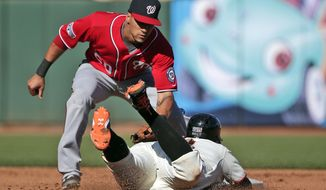 San Francisco Giants Brandon Belt is tagged out by Washington Nationals shortstop Ian Desmond on a steal attempt in the fourth inning during Game 3 of baseball's NL Division Series in San Francisco, Monday, Oct. 6, 2014. (AP Photo/Marcio Jose Sanchez)
