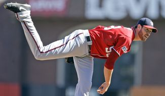 Washington Nationals pitcher Doug Fister (58) delivers a pitch in the first inning against the San Francisco Giants during Game 3 of baseball's NL Division Series in San Francisco, Monday, Oct. 6, 2014. (AP Photo/Ben Margot)