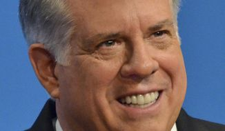 Maryland Republican gubernatorial candidate Larry Hogan speaks during his first gubernatorial debate with Democratic candidate, Lt. Gov. Anthony Brown, in Baltimore, Tuesday, Oct. 7, 2014. (AP Photo/The Baltimore Sun, Amy Davis, Pool)