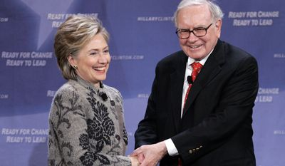 Billionaire investor Warren Buffett helps Democratic presidential candidate, Sen. Hillary Rodham Clinton, D-N.Y., raise campaign funds in San Francisco, Calif., Tuesday, Dec. 11, 2007. (Associated Press) **FILE**
