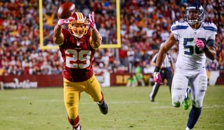 Washington Redskins running back Roy Helu (29) can't get to a pass in the red zone in the third quarter as the Washington Redskins play the Seattle Seahawks in Monday Night Football at FedExField, Landover, Md., Monday, October 6, 2014. (Andrew Harnik/The Washington Times)