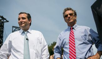 GOP Gap: Ted Cruz (left) and Rand Paul are together at a lot of Republican events as the top potential candidates in the race for the party's presidential nomination, but their campaign styles are vastly different. Mr. Cruz attracts economic and national defense conservatives, as well as the Christian right, while Mr. Paul appeals to voters regardless of religion, political inclination or lifestyle. (Getty Images)