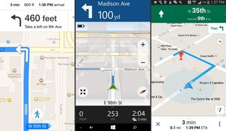 This combination of screen shots shows mapping apps, from left, Apple Maps for iPhones, Microsoft Here for Lumia-branded Windows phones, and Google Maps for Android. Mapping apps have grown more sophisticated in the last five years. (AP Photo)
