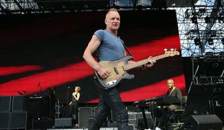 This April 7, 2013, file photo shows Sting performing as part of Final Four Big Dance Concerts at Centennial Olympic Park in Atlanta. Sting, Green Day, and Bill Withers are among the first-time nominees for the Rock and Roll Hall of Fame. (Photo by Robb D. Cohen/RobbsPhotos/Invision/AP) ** FILE **