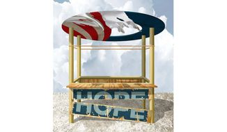 Illustration on the continuing decay of the Obama Administration by Alexander Hunter/The Washington Times