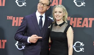 """FILE - In this June 23, 2013 file photo, director Paul Feig and screenwriter Katie Dippold attend """"The Heat"""" premiere at the Ziegfeld Theatre in New York. Feig said Wednesday, Oct. 8, 2014 that he will direct a reboot of """"Ghostbusters,"""" starring, as he said on Twitter, """"hilarious women."""" Feig will direct the film for Sony Pictures, with Dippold writing the script. (Photo by Evan Agostini/Invision/AP, File)"""