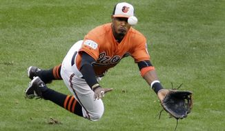 Baltimore Orioles center fielder Adam Jones makes a catch on a ball hit by Kansas City Royals' Norichika Aoki during the third inning of Game 2 of the American League baseball championship series Saturday, Oct. 11, 2014, in Baltimore. (AP Photo/Alex Brandon)