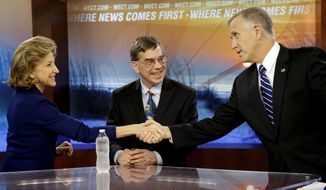 Sen. Kay Hagan, D-N.C., and North Carolina Republican Senate candidate Thom Tillis, right, shake hands as Libertarian Party Senate candidate Sean Haugh looks on prior to a live televised debate at WECT studios in Wilmington, N.C. on Thursday, Oct. 9, 2014. (AP Photo/Gerry Broome, Pool)