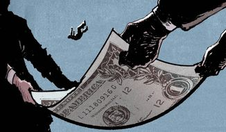 Illustration on Congressional expansion of unemployment benefits by Paul Tong/Tribune Content Agency