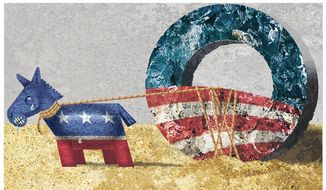 Illustration on Democrats seeking to distance themselves from Obama by Alexander Hunter/The Washington Times