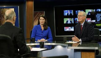 "U.S. Senate Minority Leader Mitch McConnell (R) Ky., right, and  Democratic opponent, Kentucky Secretary of State Alison Lundergan Grimes, rehearsed with host Bill Goodman before their appearance on ""Kentucky Tonight"" television broadcast live from KET studios in Lexington, Ky., Monday, Oct. 13, 2014. (AP Photo/The Lexington Herald-Leader, Pablo Alcala, Pool)"