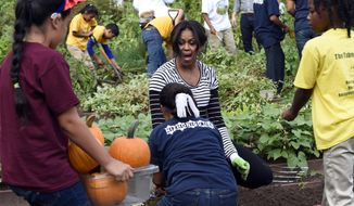 First lady Michelle Obama reacts to a container of pumpkins that were harvested by school children in the annual fall harvest of the White House Kitchen Garden at the White House in Washington, Tuesday, Oct. 14, 2014. (AP Photo/Susan Walsh) ** FILE **