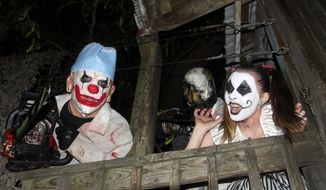 """Clowns are ready to greet guests at the """"Field of Screams"""" in Mountville, Pennsylvania. (Photograph by Jacquie Kubin / Special to The Washington Times)"""