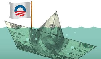 Illustration on Obama's economy by Alexander Hunter/The Washington Times