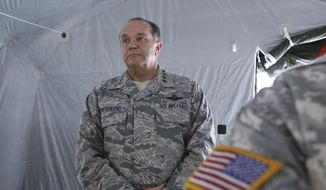 U.S. Air Force Gen. Philip Breedlove, the Supreme Allied Commander Europe, looks on during a NATO conference in Thessaloniki, Greece, on Wednesday Oct. 15, 2014. (AP Photo/Grigoris Siamidis) ** FILE **