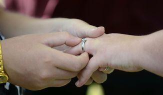 Brittany Dickerson, left, places a ring on Ashley Owens' hand as they're married by the Rev. Bud Liptrap, Wednesday, Oct. 15, 2014, at Harry Barry Park in Twin Falls, Idaho. (AP Photo/The Times-News, Drew Nash) ** FILE **