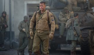 "Brad Pitt stars as tank crew leader Wardaddy in ""Fury,"" a film that is set at near the end of World War II. (Sony Pictures Entertainment via Associated Press)"