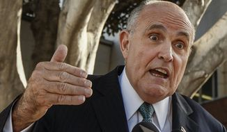 "Lawyer and former New York City Mayor Rudy Giuliani comments on a lawsuit filed against video game giant Activision by former Panamanian dictator Manuel Noriega outside Los Angeles Superior court in Los Angeles Thursday, Oct. 16, 2014. Noriega claims his likeness was used without permission in ""Call of Duty: Black Ops II"" and he was portrayed as a murderer and enemy of the state. Activision attorneys said allowing the case to proceed would make it difficult to include historical figures in games, books and other creative works. Los Angeles Superior Court Judge William F. Fahey did not signal during an hour long hearing Thursday how he might rule. (AP Photo/Damian Dovarganes)"