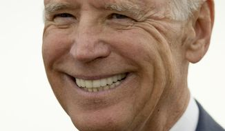 Vice President Joe Biden smiles as he speaks after a tour of a dredging barge, Thursday, Oct. 16, 2014, at Penn's Landing along the Delaware River in Philadelphia.  Biden discussed the importance of investing in the nation's infrastructure during his visit to the waterfront. (AP Photo/Matt Rourke)