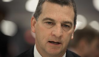 Maryland men's head coach Mark Turgeon talks with reporters during a Big Ten NCAA college basketball media day in Rosemont, Ill., Thursday, Oct. 16, 2014. (AP Photo/Paul Beaty)