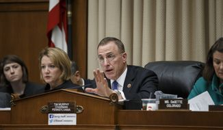 Rep. Tim Murphy, R-Pa., chairman of the House Energy and Commerce Committee's Subcommittee on Oversight and Investigations, question top U.S. health officials about the Ebola outbreak, on Capitol Hill in Washington, Thursday, Oct. 16, 2014. Lawmakers are examining the government's response to contain the disease and whether America's hospitals and health care workers are adequately prepared for Ebola patients.  (AP Photo/J. Scott Applewhite)