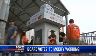 A controversial monument at the entrance of a Madison County, Georgia, high school football stadium will be altered to remove its biblical scripture after complaints from atheists. (FOX 5)