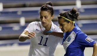United States' Ali Krieger, left, controls the ball against Guatemala's Marilyn Rivera during the first half of a CONCACAF Women's Championship soccer game Friday, Oct. 17, 2014, in Bridgeview, Ill. (AP Photo/Nam Y. Huh)