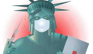 Illustration on U. S. Ebola preparedness by Linas Garsys/The Washington Times