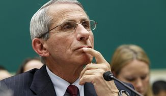 "Dr. Anthony Fauci, director of The National Institute of Allergy and Infectious Diseases, maintained that an Ebola-related travel ban would have ""downsides"" as he made the rounds on the Sunday talk shows. (AP Photo/J. Scott Applewhite)"