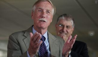 "US Sen. Angus King, left, speaks Monday, Aug. 18, 2014 in Portland, Maine, during an event where he endorsed independent Eliot Cutler, right, for Maine governor. King said there would be ""significant advantages"" to having an independent governor who could make the best appointments, regardless of party affiliation. (AP Photo/Joel Page)"