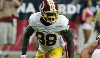 Washington Redskins outside linebacker Brian Orakpo (98) during the first quarter of an NFL football game against then Arizona Cardinals, Sunday, Oct. 12, 2014 in Glendale, Ariz. (AP Photo/Rick Scuteri)