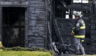 An arson detection dog and investigator from the State Fire Marshal's office search through debris after an apartment fire in Lawrence, Mass., Tuesday, Oct. 21, 2014. Two children died in the blaze. (AP Photo/Charles Krupa)