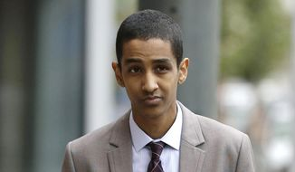 In this Oct. 16, 2014, file photo, Robel Phillipos, a college friend of Boston Marathon bombing suspect Dzhokhar Tsarnaev, arrives at federal court to attend his trial in Boston. Closing arguments are being held in the case Tuesday, Oct. 21, 2014. Phillipos is charged with lying to the FBI about being in Tsarnaev's dorm room while two other friends removed a backpack containing fireworks and other potential evidence several days after the April 15, 2013 attack. (AP Photo/Steven Senne, File)