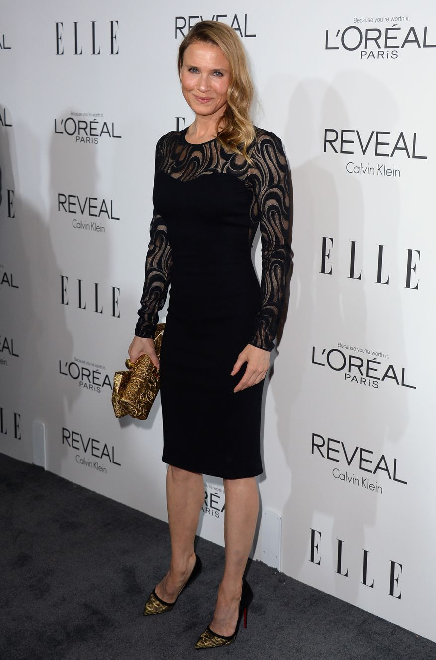 Renee Zellweger arrives at ELLE's 21st annual Women In Hollywood Awards at the Four Season Hotel on Monday, Oct. 20, 2014, in Los Angeles. (Photo by Jordan Strauss/Invision/AP)