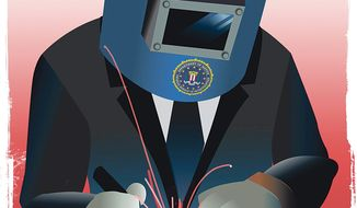 Illustration on how the FBI could effectively reform the Secret Service by Linas Garsys/The Washington Times