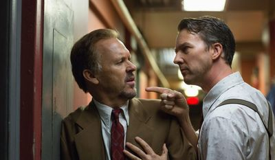 "Michael Keaton (left) and Edward Norton appear in ""Birdman."" (Fox Searchlight Pictures via Associated Press)"
