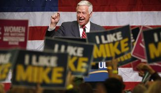 Democratic gubernatorial candidate Sen. Mike Michaud speaks at rally, Friday, Oct. 24, 2014, at Scarborough High School in Scarborough, Maine. (AP Photo/Robert F. Bukaty)