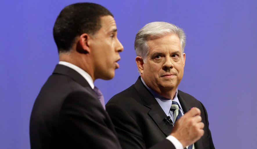 Larry Hogan (right) the Republican candidate for Maryland governor, has made tax increases of the past eight years such a large issue in his campaign that he has forced Democrat Anthony Brown to promise no new taxes in the deep-blue state.