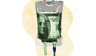 Illustration on Federal spending by Greg Groesch/The Washington Times